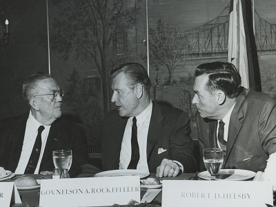 Helsby with New York State Governor Nelson A. Rockefeller, who was Governor when the Taylor Law was enacted.