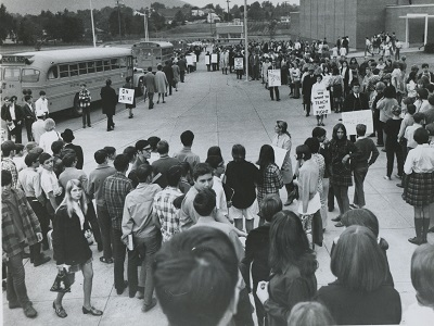Teachers' strike in Vestal, New York, 1969. The strike lasted three days and involved approximately 75% of the school's teachers.