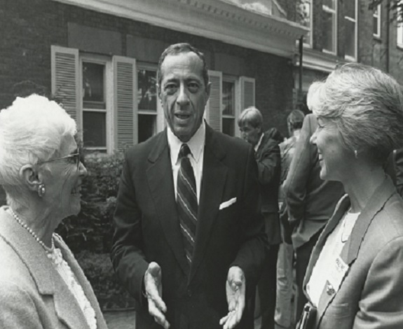 New York State Governor Mario Cuomo (1983-1994) chats with Chair Pauline R. Kinsella (right) and CSEA's Statewide Secretary Irene Carr.